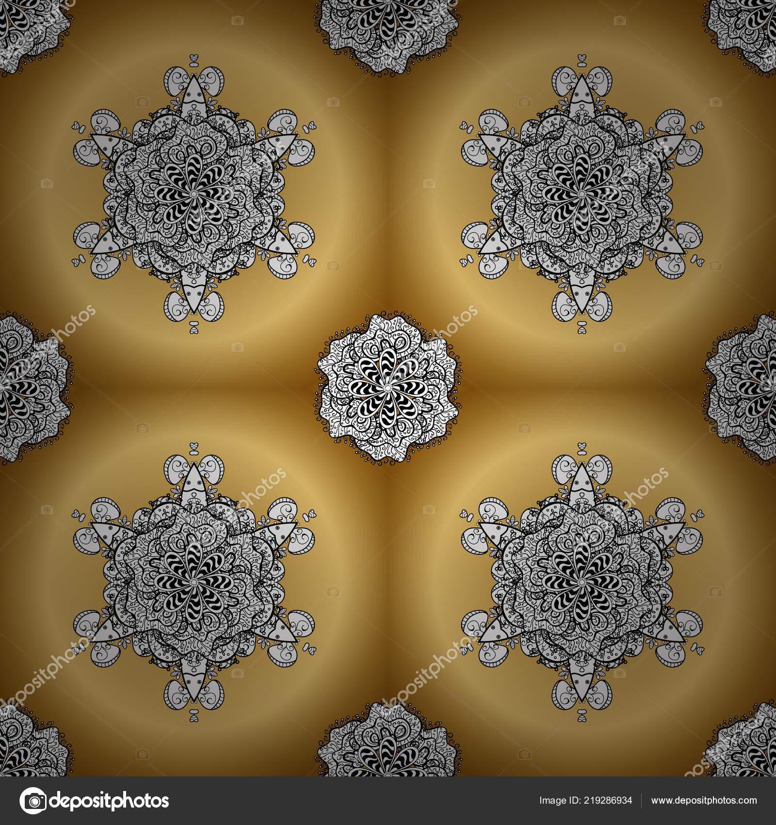 Ornamental Floral Elements Henna Tattoo Golden Stickers Mehndi Yoga
