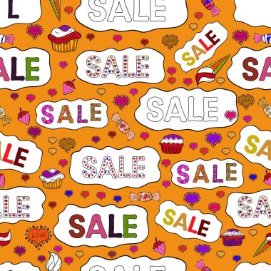 Sale banner template design. Picture in white, orange and black colors. Seamless pattern. Simple patches, poster, badges in pop art style. Vector illustration. Lettering.