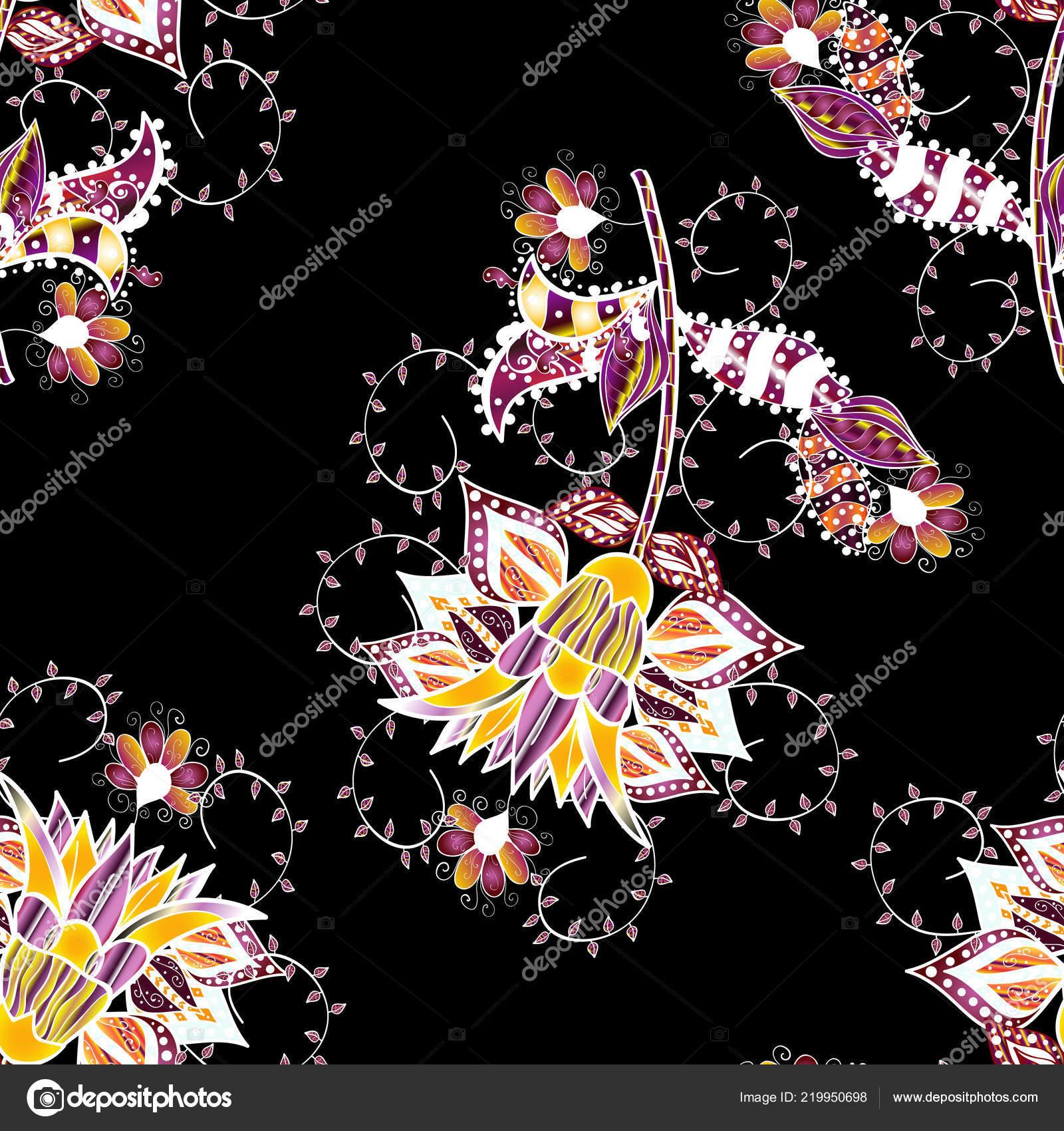 Dans Style Asiatique Textile Fleurs Sur Les Couleurs Noirs