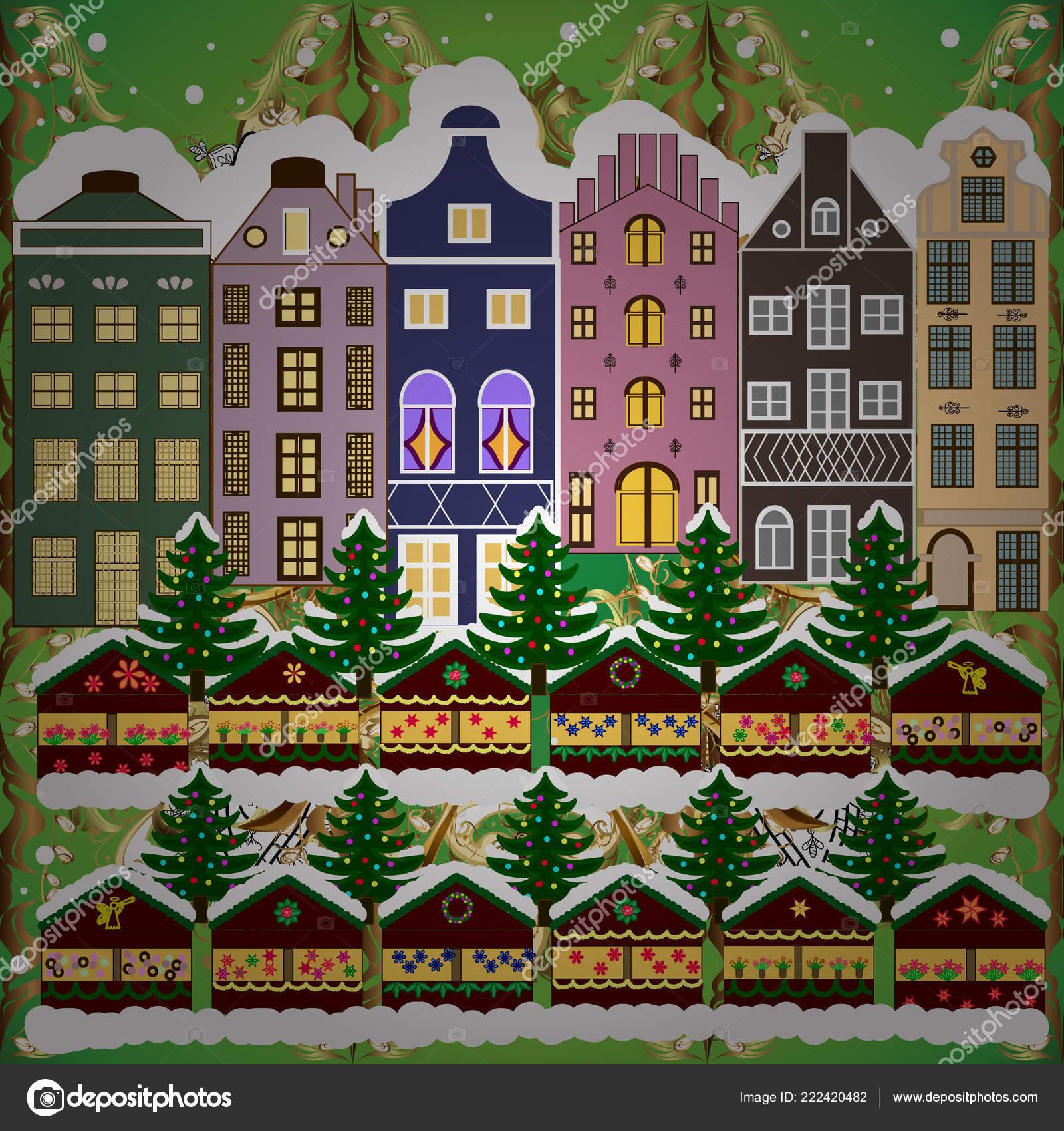 Weihnachten Winter Szene Häuser Abend Dorf Winterlandschaft Mit ...