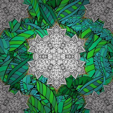 Vintage baroque mandala ornament on green, white and black colors. Decorative design element filigree calligraphy. Retro pattern antique style acanthus. Vector illustration.