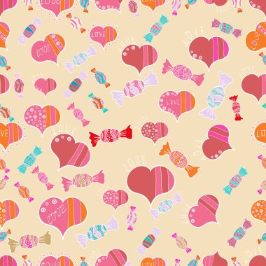 Love, wedding, Valentines day design. Seamless vector background with beige, pink and white hearts.