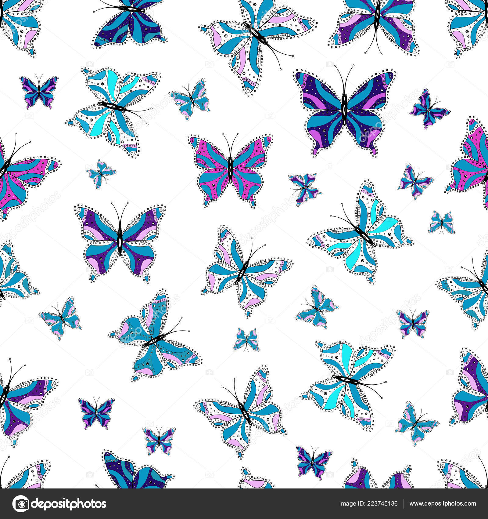 Colorful Cute Butterfly Vector Illustration Pictures Black White