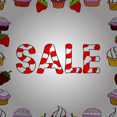Vector illustration. Cute sale banner. Picture in white, red and black colors. Seamless. Lettering.