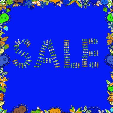 Black, green and blue Sale Abstract Background. Picture in black, green and blue colors. Lettering. Seamless. Vector.