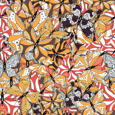 Hand drawing on a white, orange and black background. Mystical, symbols. Repeated doodles. Seamless colorfil pattern.