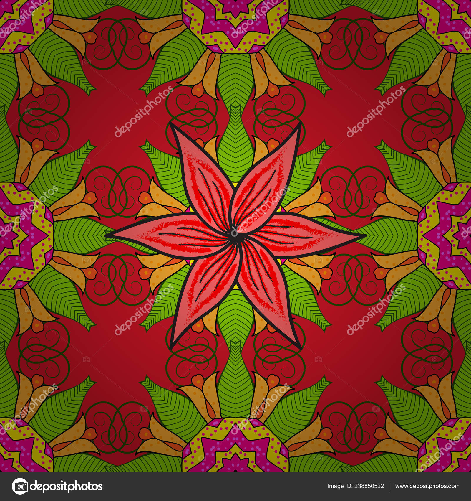 Vector Stock Seamless Pattern Red Green Yellow Flowers Watercolor