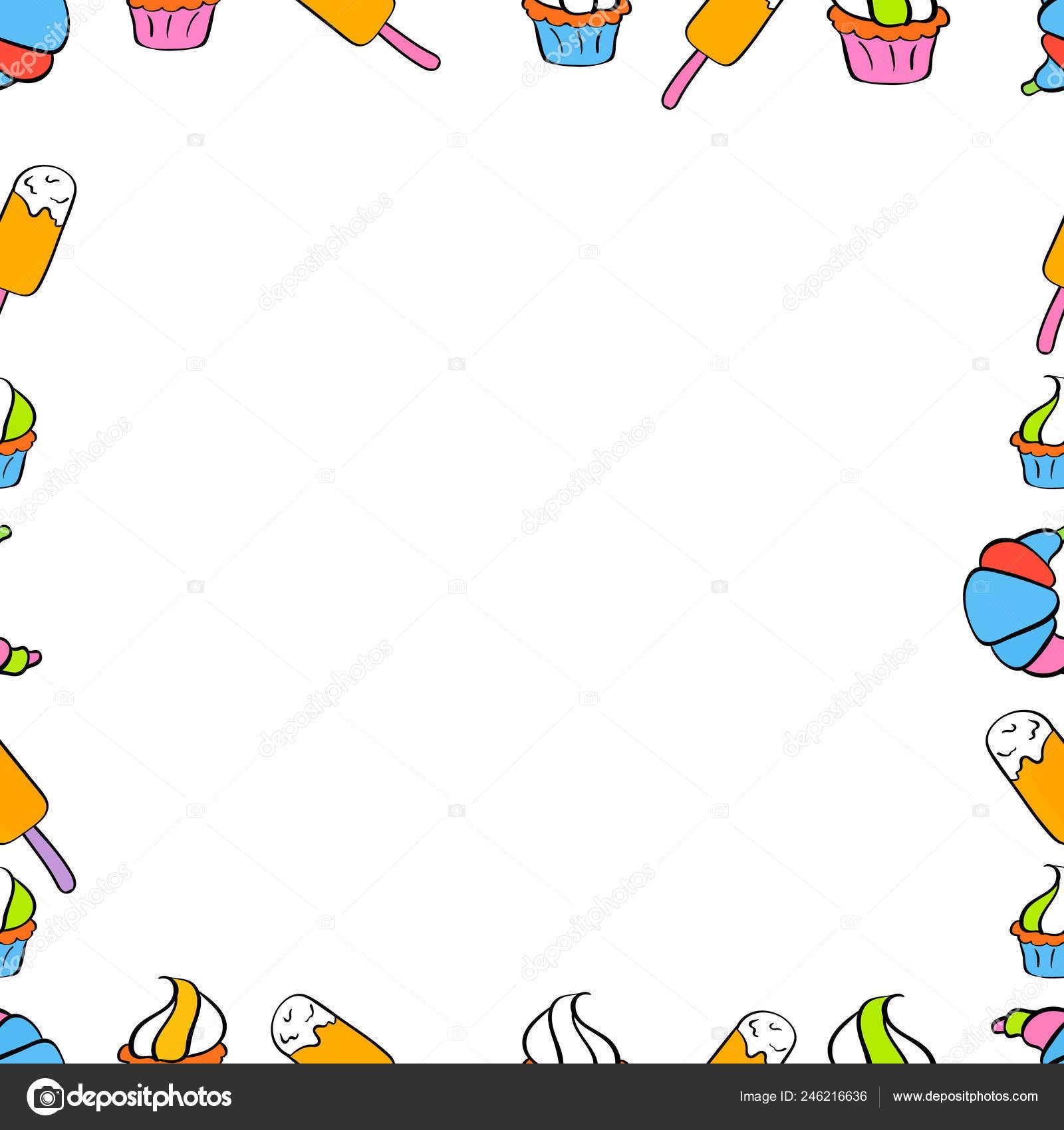 Vector Illustration Border Design Pattern Doodles Art Style Illustration White Stock Vector C Valera197615 246216636