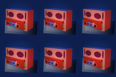Raster. 3D. 1940s style. Drawing on red, pink and blue versicolours. Old radio isolated on background.