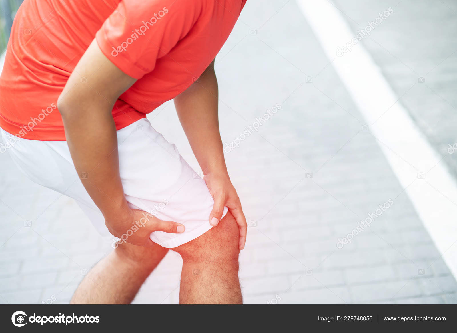 Runner Man Touching Painful Twisted Broken Ankle Athlete