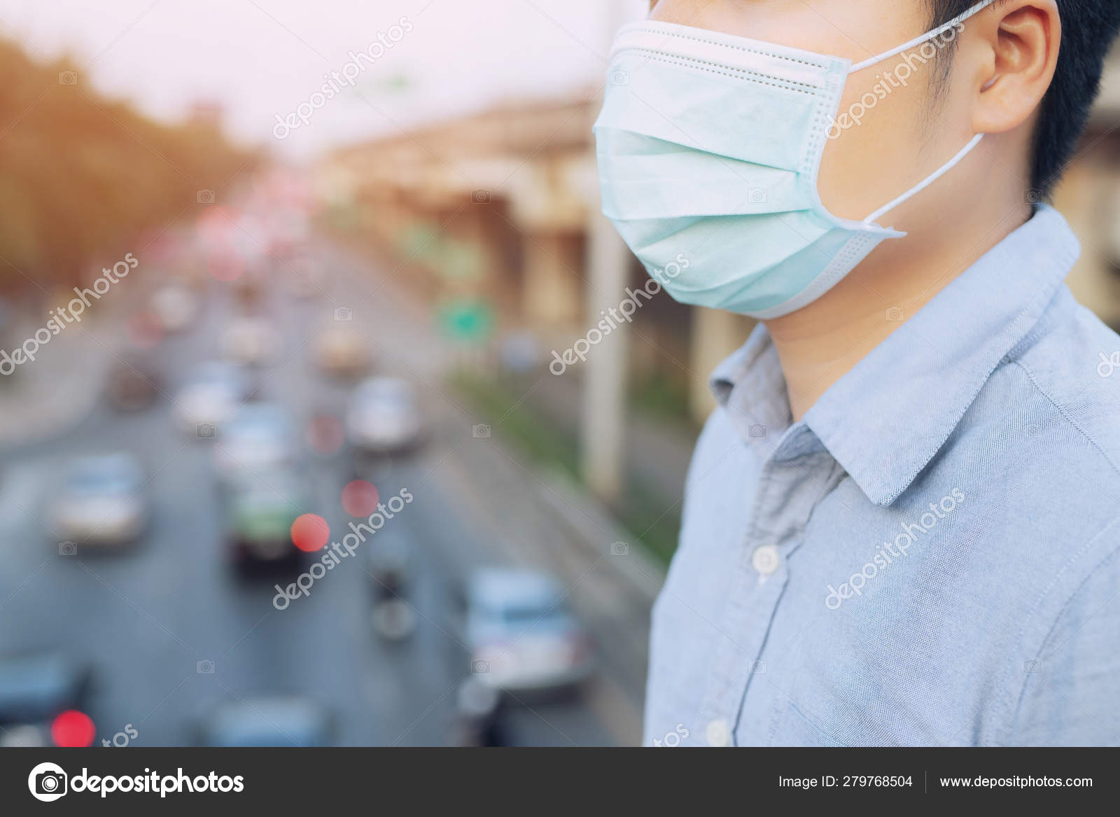 Wearing Mask Nose Outdoors Hygienic Man Facial Portrait Ecology