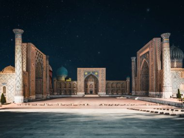 View to Registan Square at Night with Stars in Samarkand Uzbekistan