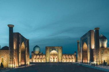 View to Registan Square at Night in Samarkand Uzbekistan
