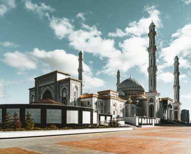 Outside view Mosque Hazrat Sultan in Astana capital of Kazakhstan on a clear day with sun blue sky