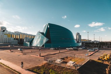 Astana, Kazakhstan - July 2018: located in the administrative center, unique in its architectural design, the biggest concert of the capital structure