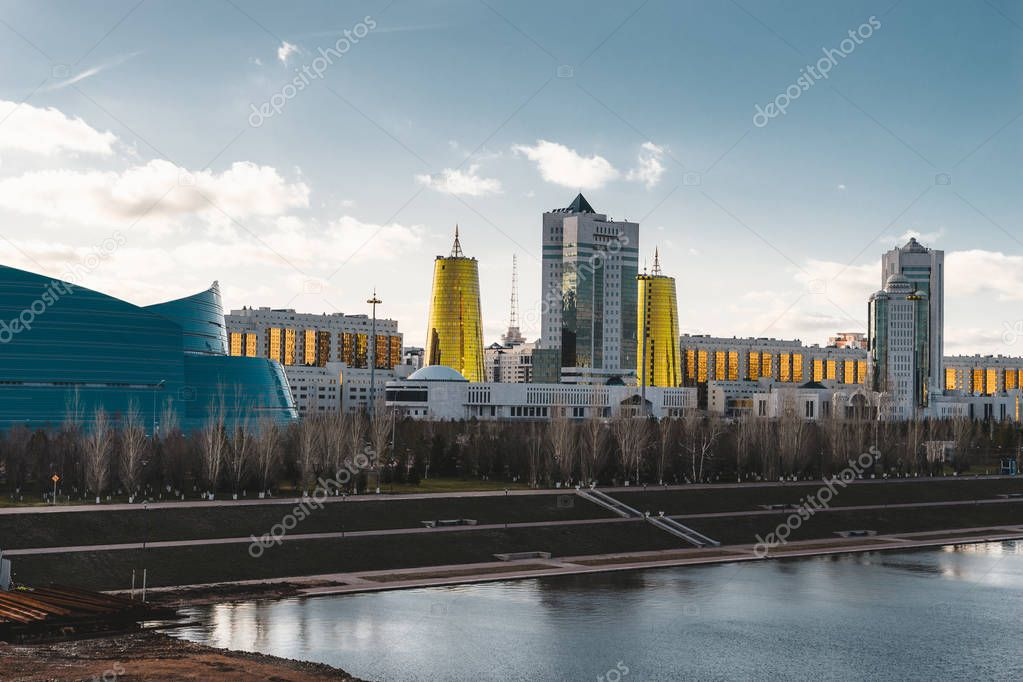 Elevated panoramic city view over Astana in Kazakhstan with Golden Towers aka the Beer Cans and presidential building Ak Orda