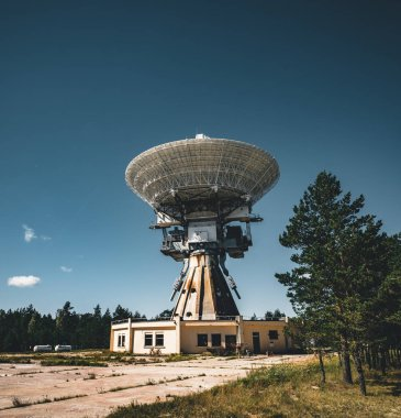 A huge soviet radio telescope near abandoned military town Irbene in Latvia. Former super-secret Soviet Army space spying object.Now largest radio telescope in northern Europe and the worlds eighth