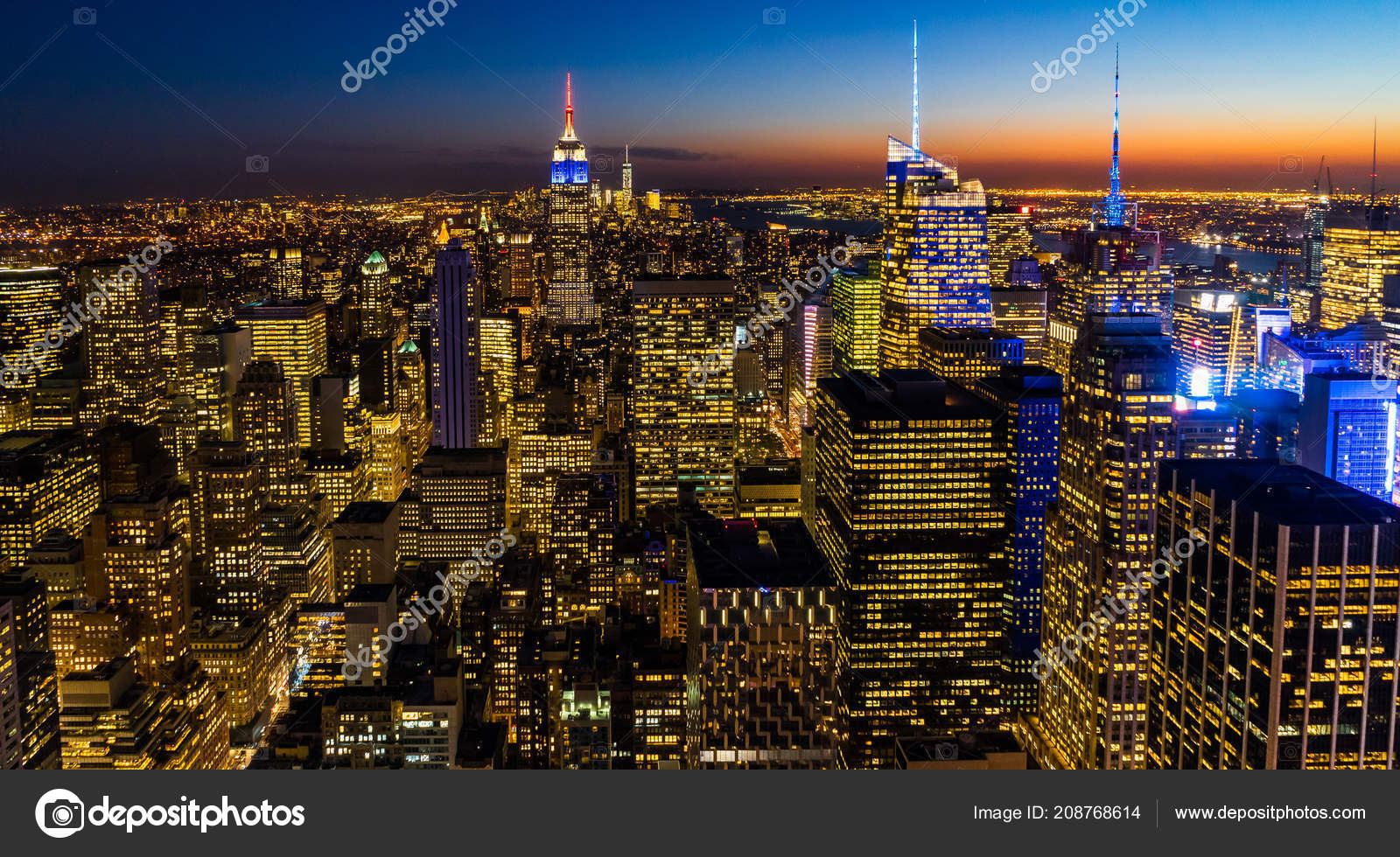 New York City Computer Wallpaper New York Skyline Manhatten Cityscape Empire State Building From Top Of The Rock Sunset Stock Editorial Photo C Mathias Berlin 208768614
