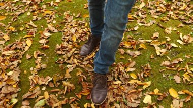 View from above, feet walking along the autumn fallen leaves.