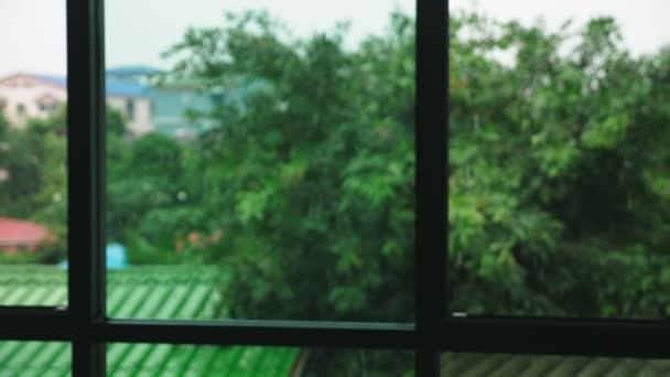 ein großes Fenster mit Vorhang im Regen. Sie können grüne Bäume vor dem Fenster sehen.