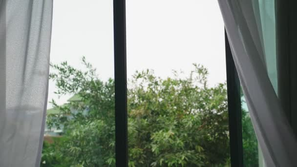 transparenter Fenstervorhang, sanft vom Wind bewegt. Vor dem Fenster sieht man die grünen Blätter der Bäume.