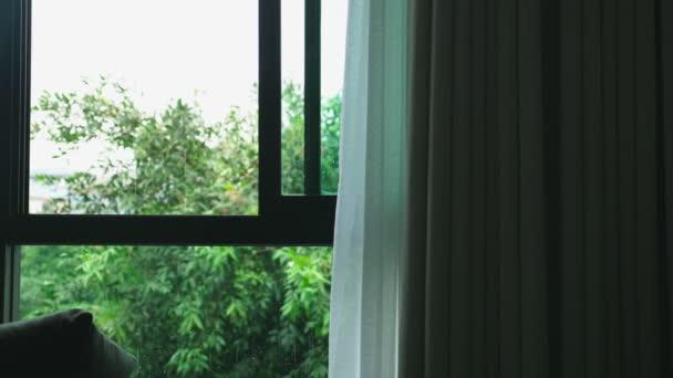 velké okno se závěsem v dešti. můžete vidět zelené stromy za oknem