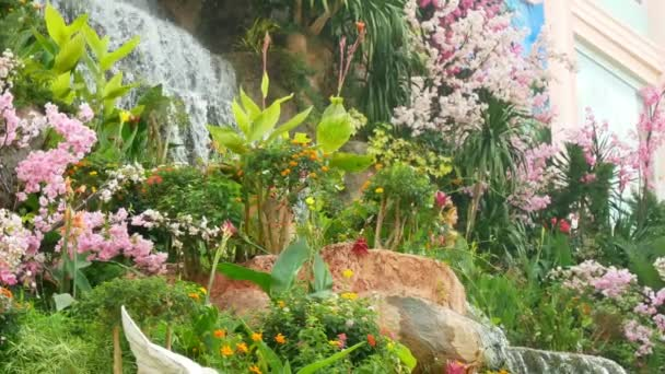 krásný umělý vodopád v botanické zahradě, obklopené růžovými květy