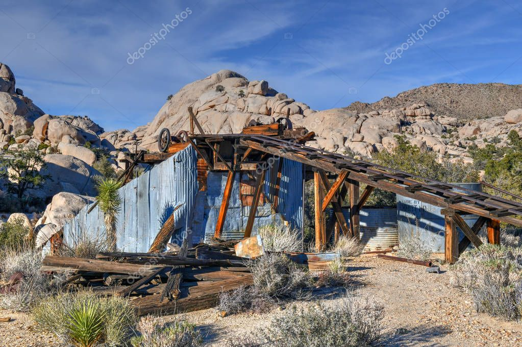 Abanoned equipment and mine along Wall Street Mill Trail in Joshua Tree National Park, California.