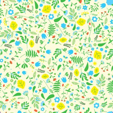 Seamless loral pattern with yellow background. Retro nature flower concept.