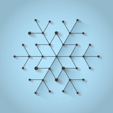 Minimalistic christmas snowflake on blue background with shadow. Simply low poly winter theme