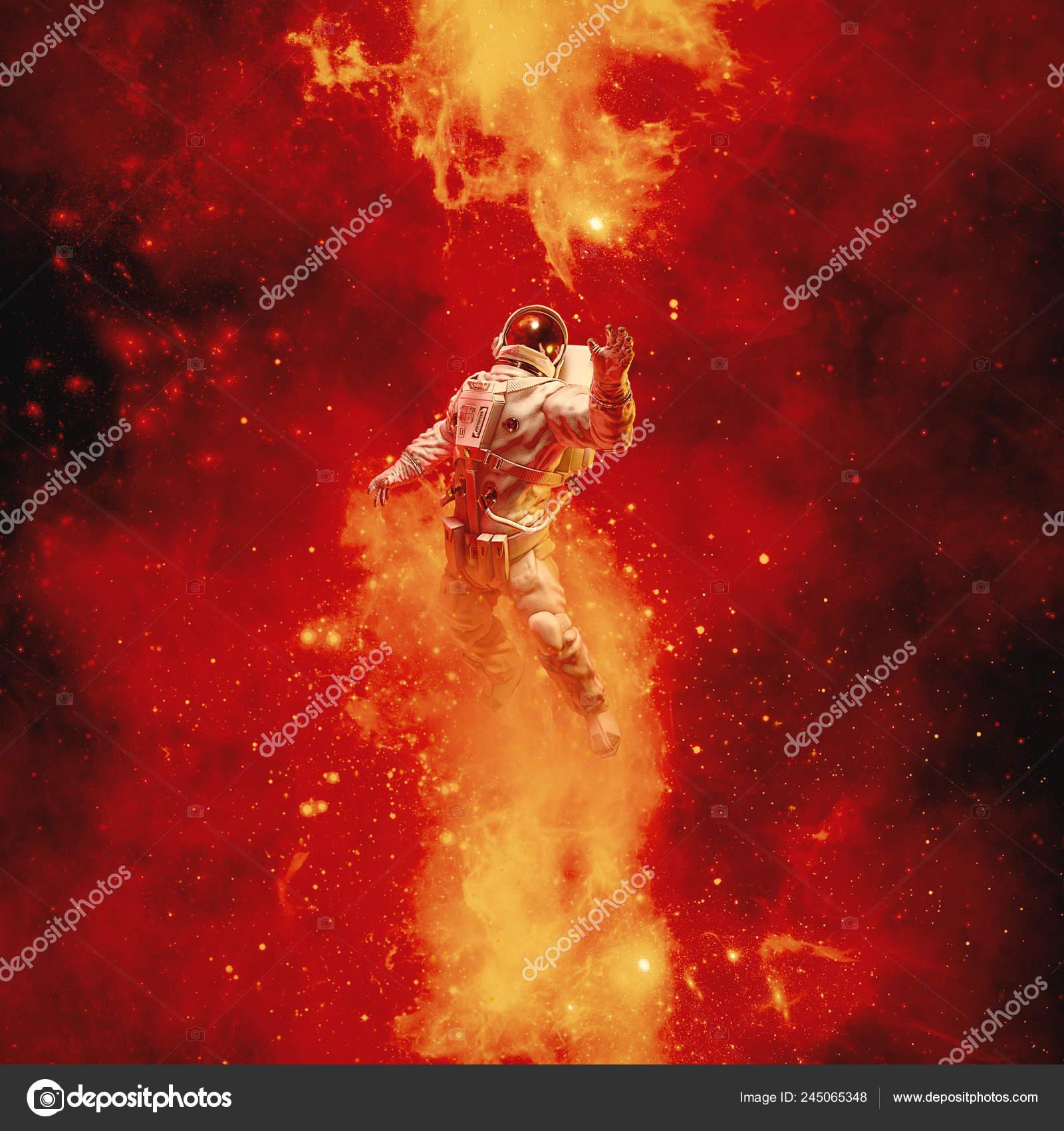 Heaven Reach Illustration Science Fiction Scene Astronaut Floating