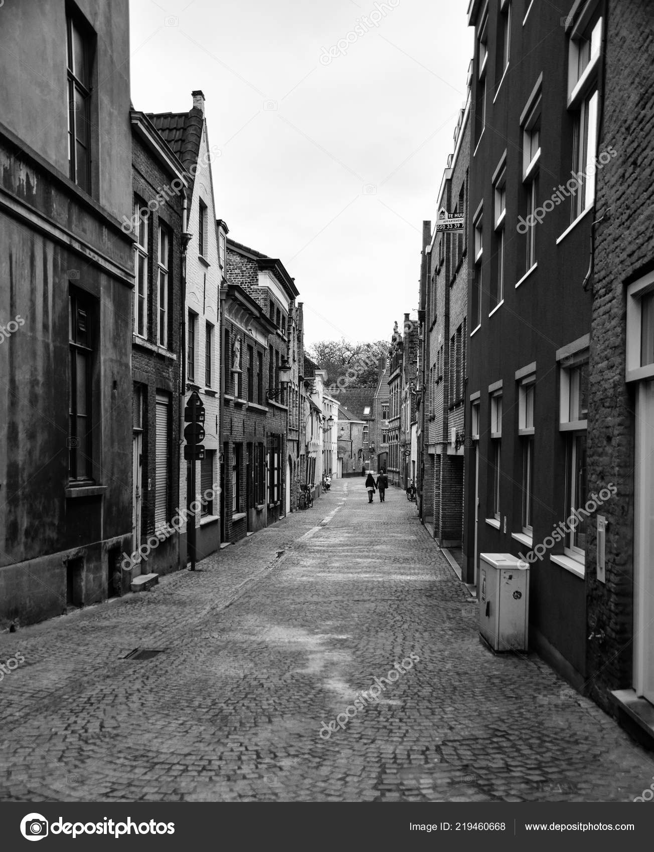 Bruges belgium april 2018 black white photo cobbled street huidenvettersplein stock editorial photography