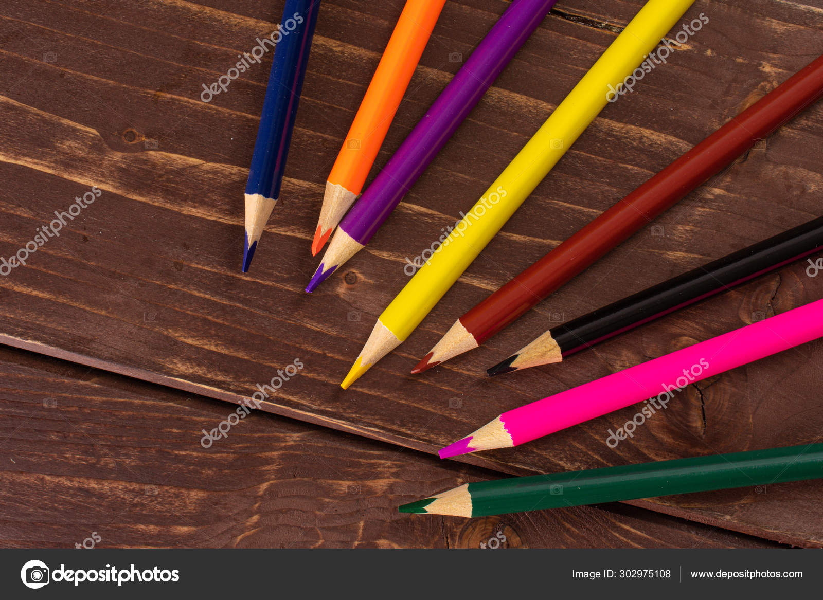 https depositphotos com 302975108 stock photo vibrant colored pencil on brown html
