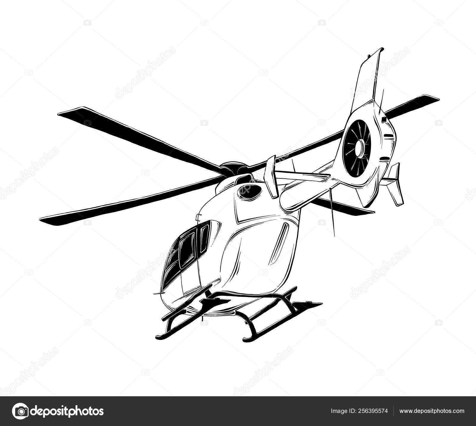 depositphotos stock illustration vector drawing of helicopter in