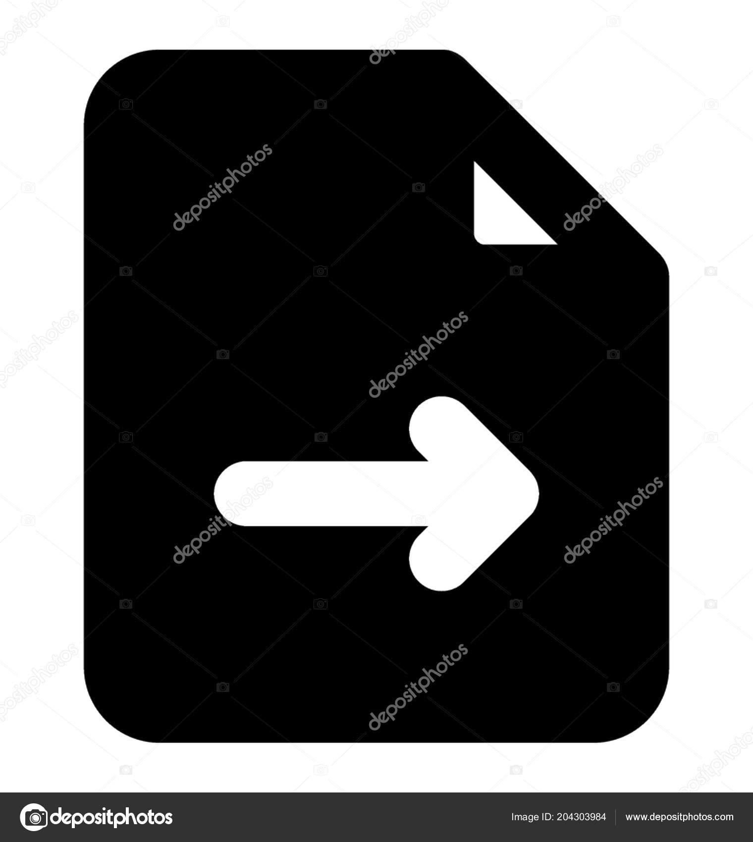 document rightward pointing arrow sign notion file forwarding icon