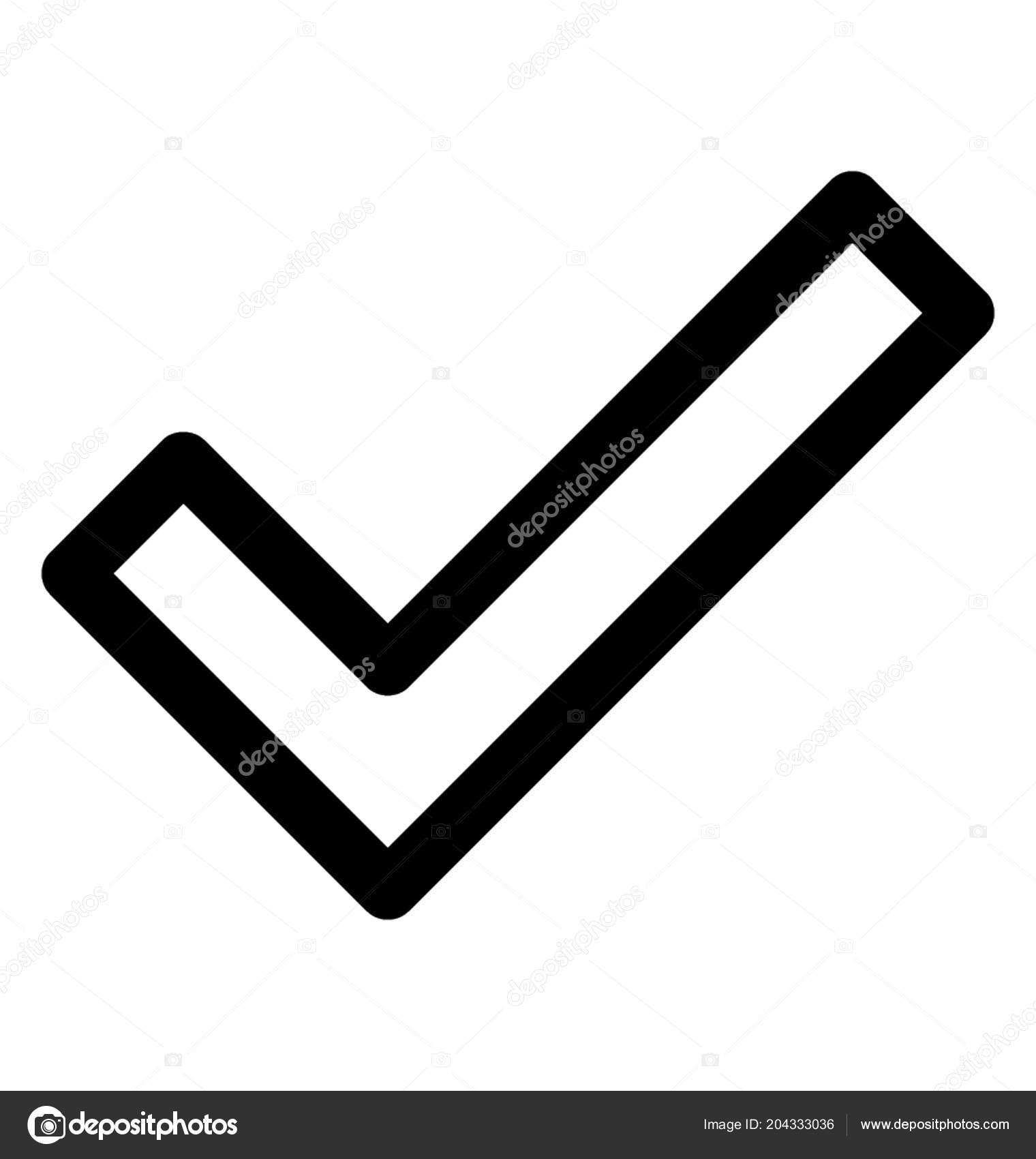 Hockey Stick Tick Mark Icon Made Joining Lines Denoting Sign