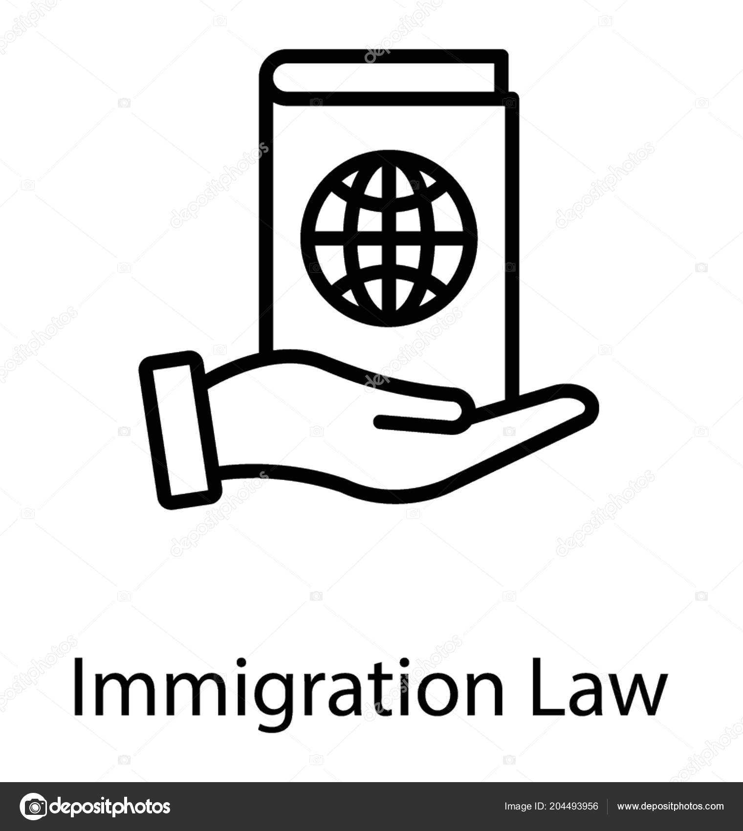 passport word globe hand sign showing icon immigration law stock