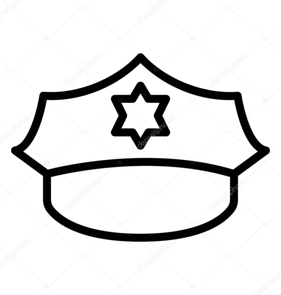 Yıldız Sembolü Simgesi Polis Cap Için Gösterilen Kapaklı Stok