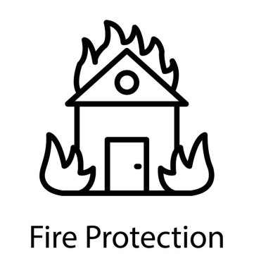 A house on fire, fire insurance concept