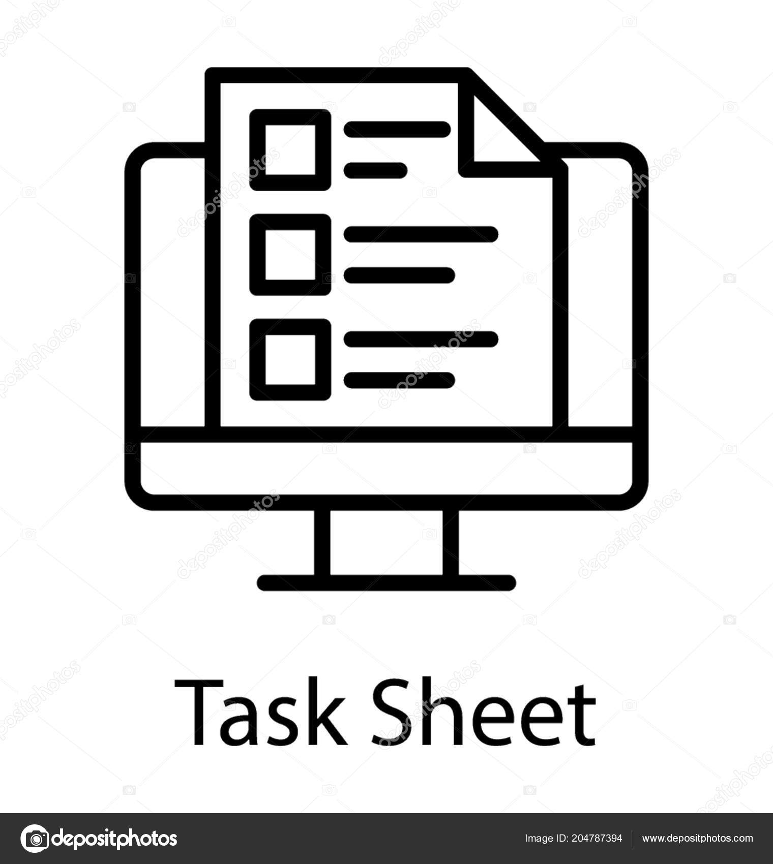 laptop screen list showing task sheet icon stock vector