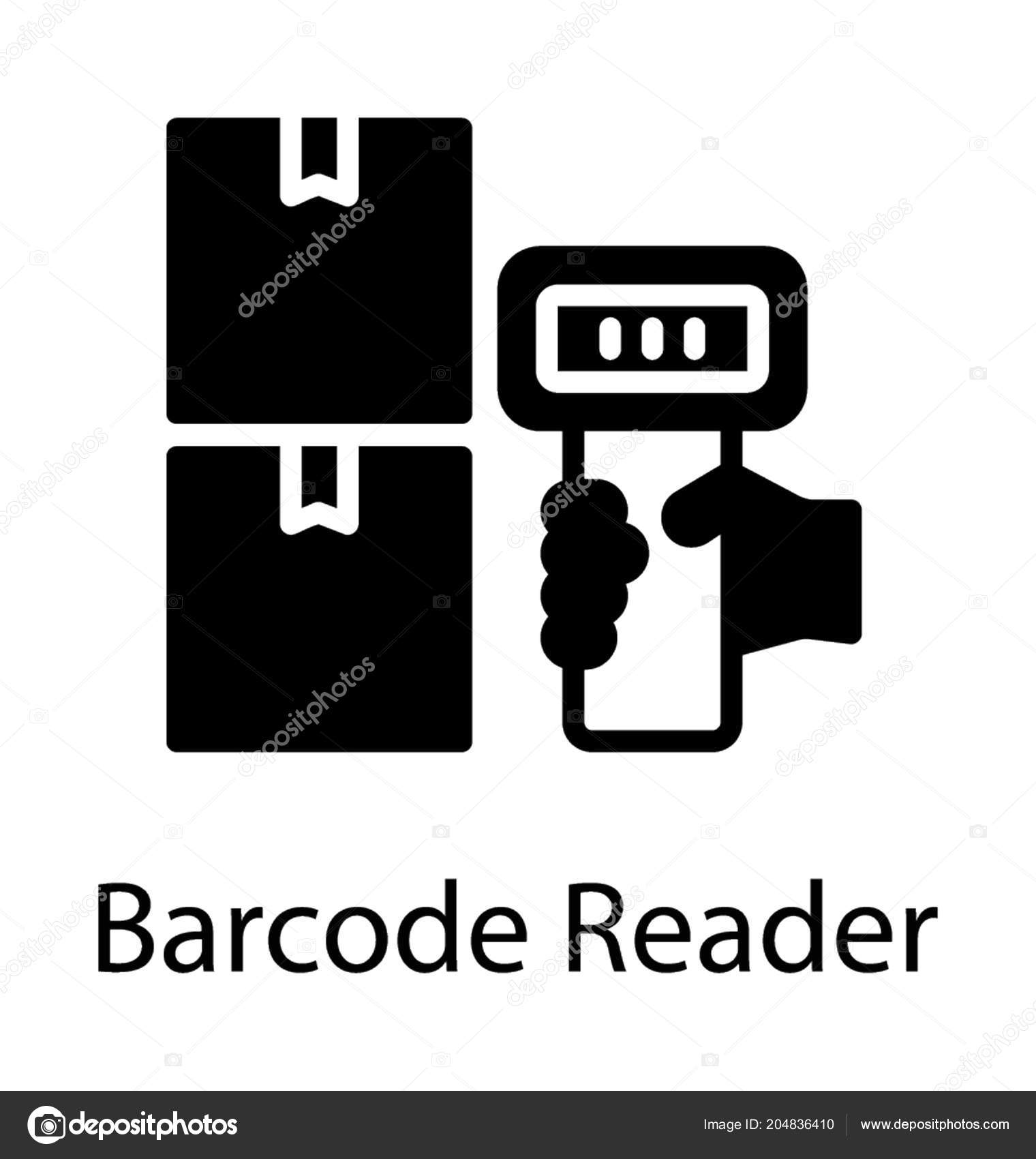 Hand Scanning Barcodes Reader Barcode Icon Stock Vector