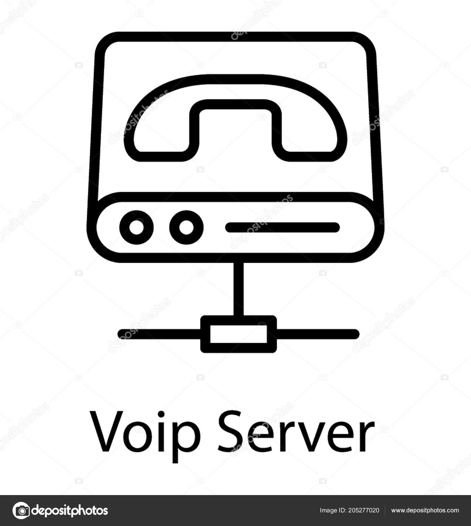 Line Icon Design Voip Server — Stock Vector © prosymbols