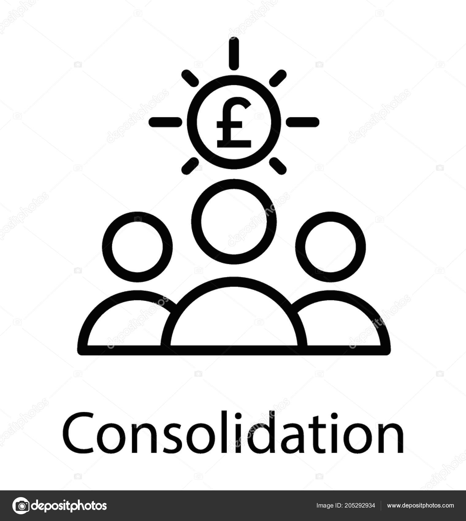 Consolidation Process Shown Icon Persons Sitting Side Side Euro