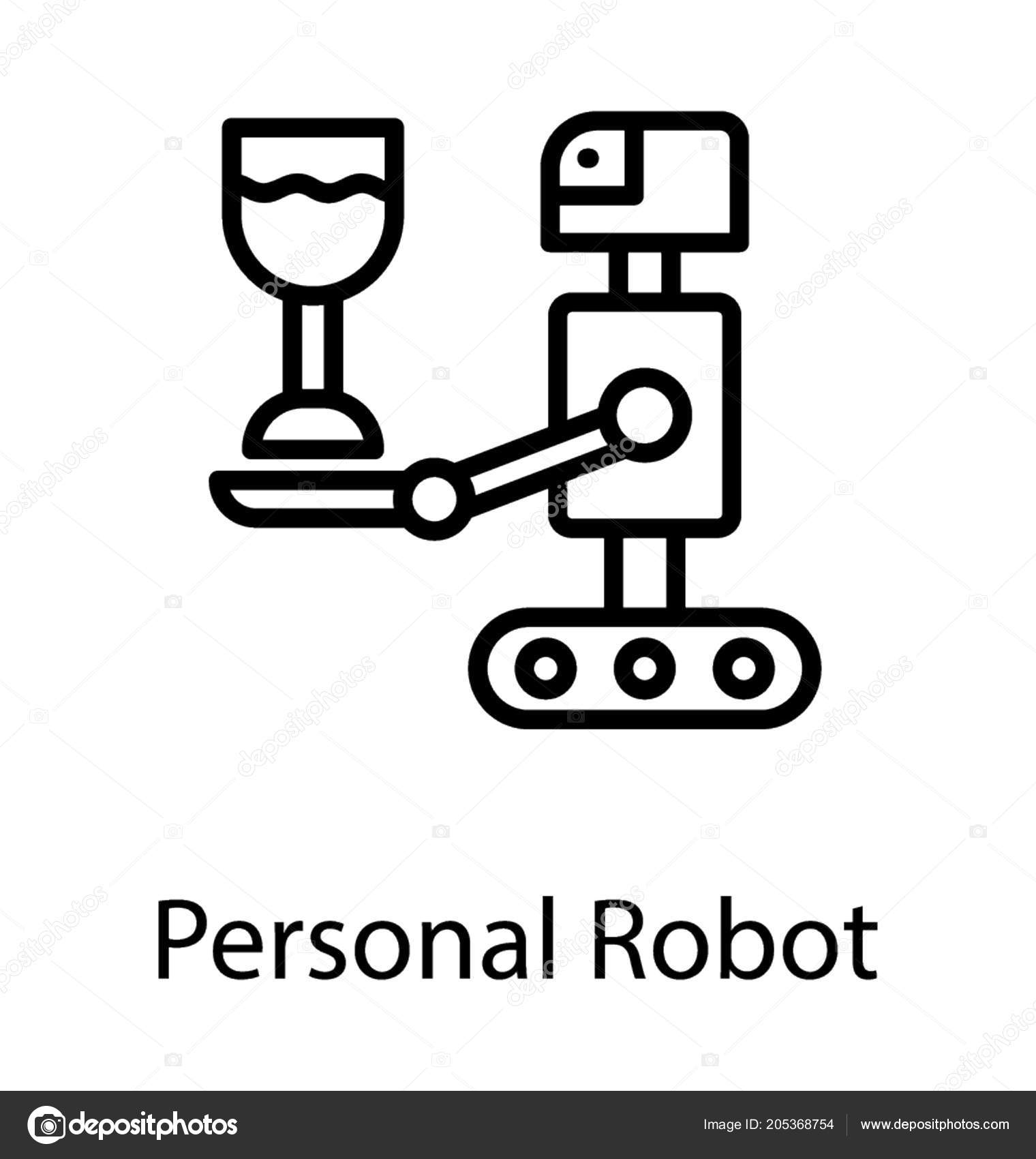 Cartoon Robot Serving Drink Glass Personal Robot Line Icon