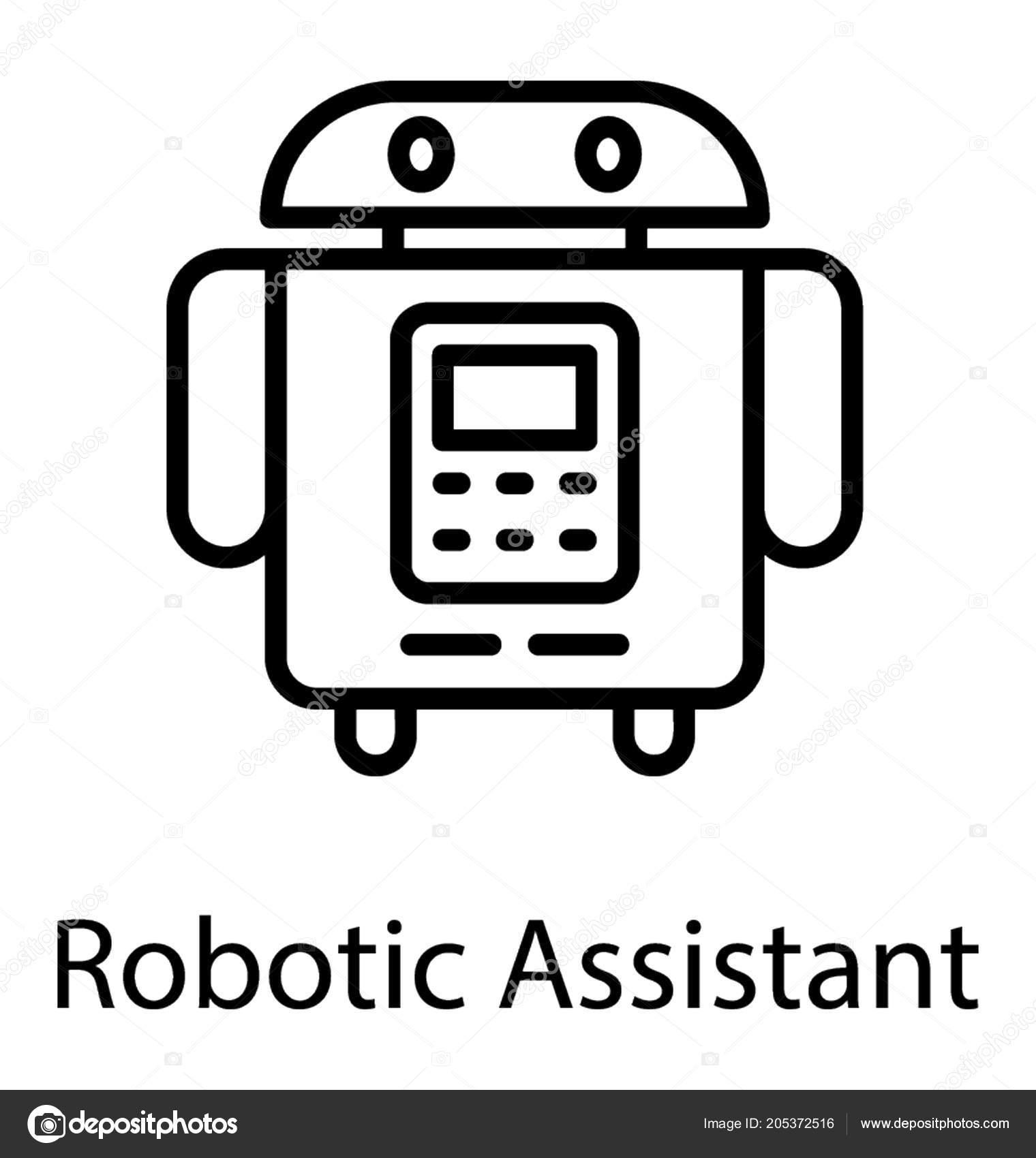 Cartoon Personal Robot Vector Icon Graphic — Stock Vector