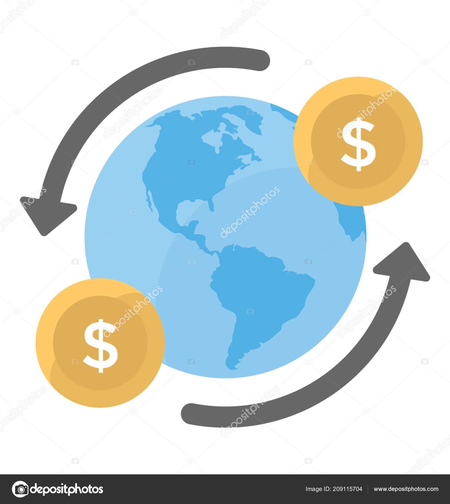 dollars revolving globe denoting global payment stock vector