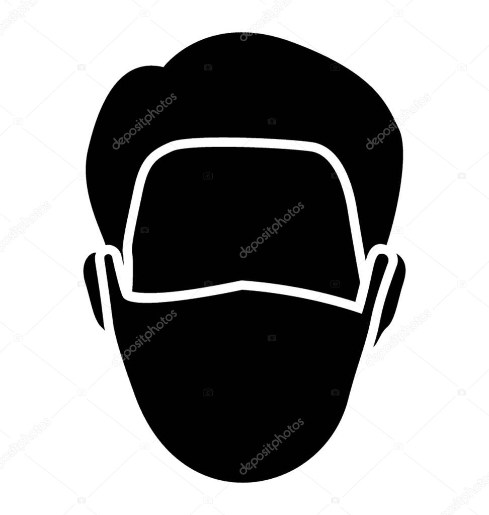 Mask used to prevent dust, dust mask icon vector