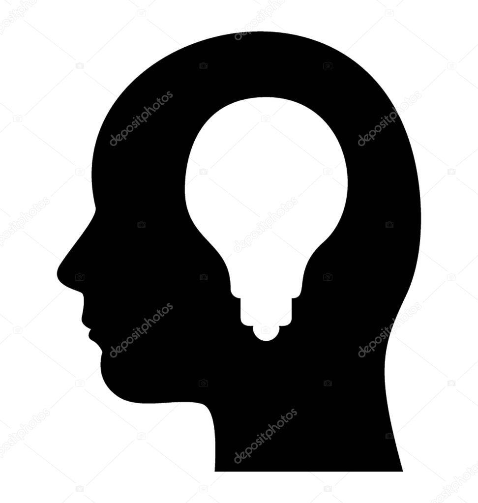 A light bulb in human head presenting idea of creative mind