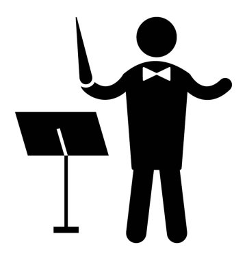 A man in front of a dies having a stick in hand symbolizing a music director