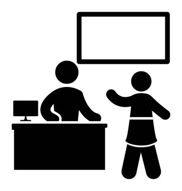 An icon showing student in classroom raising hand to talk in classroom, a notion for good manners